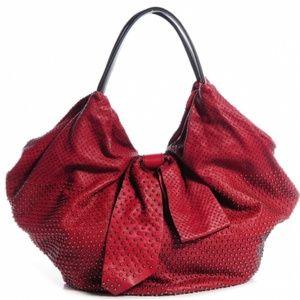 Valentino Garavani Red Nappa Studded 360 Bow Bag
